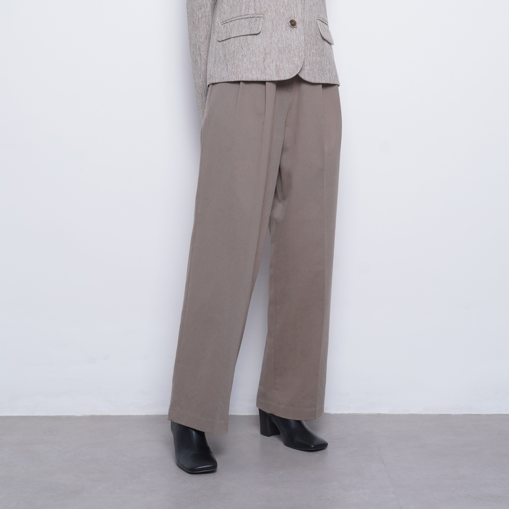 W23 cotton wide twill pants beige