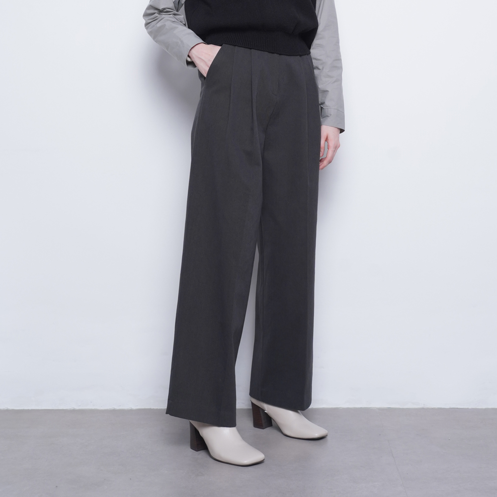 W23 cotton wide twill pants charcoal