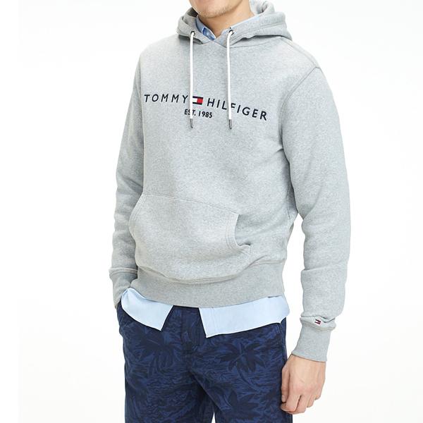 [해외]타미힐피거 시그니쳐 로고 후드 티셔츠 GREY