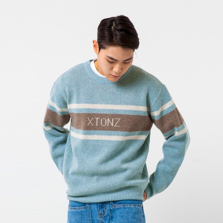 XTK008 레이 로고 울 니트 (LIGHT BLUE)
