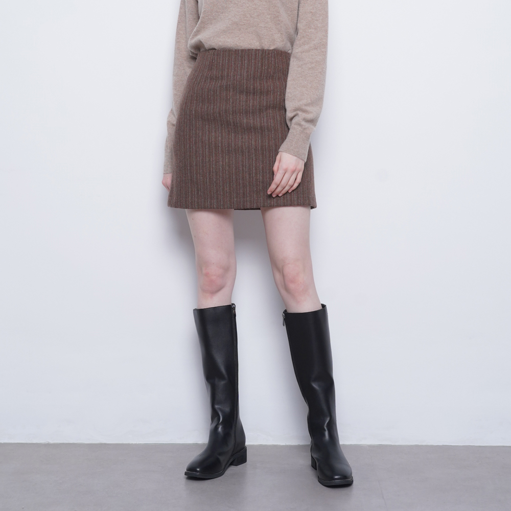 W17 wool mini skirt brwon