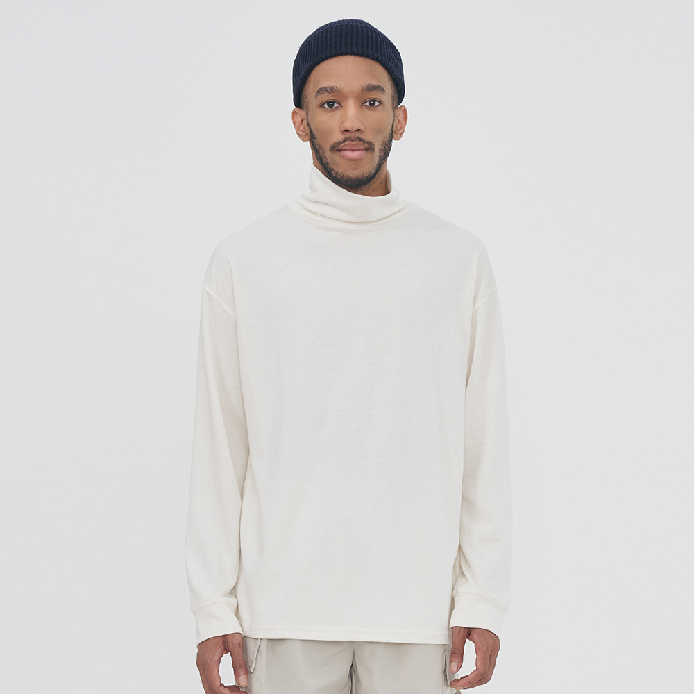 [단독할인]UNISEX LAYERED TURTLE NECK MODAL TEE IRT047 IVORY