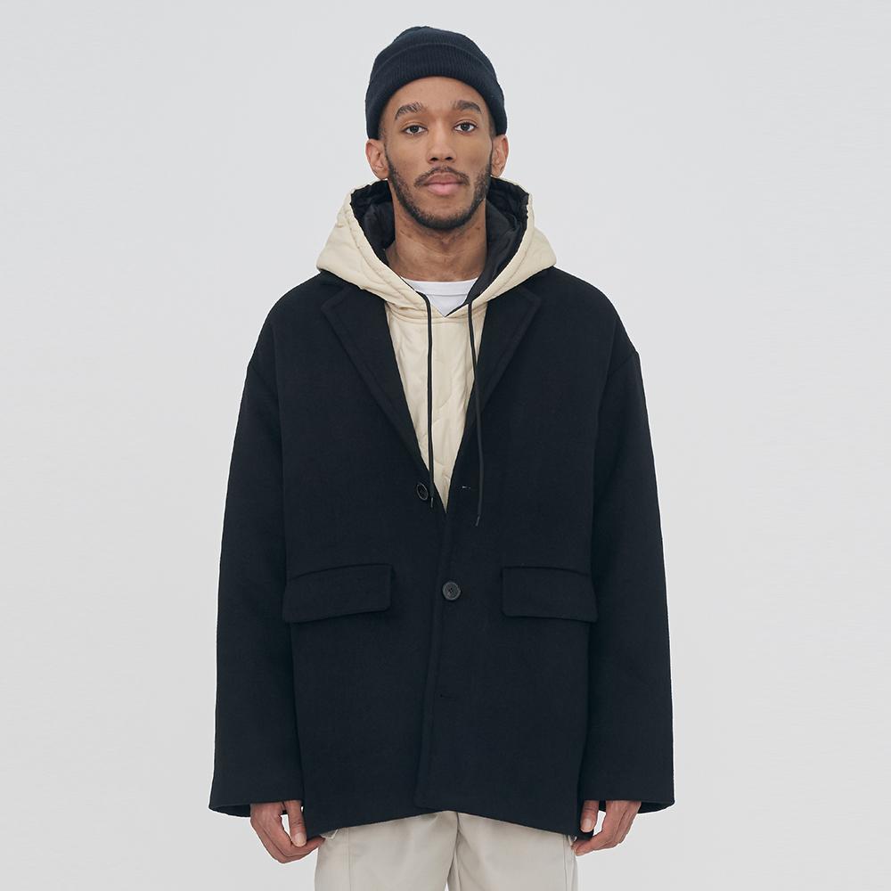 [단독할인]UNISEX WOOL POCKET OVERFIT SHORT COAT IRO030 BLACK