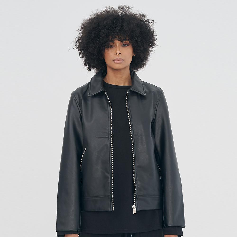 [단독할인][WOMAN] COLLAR NECK ZIPPER SINGLE RIDER JACKET IRO046 BLACK