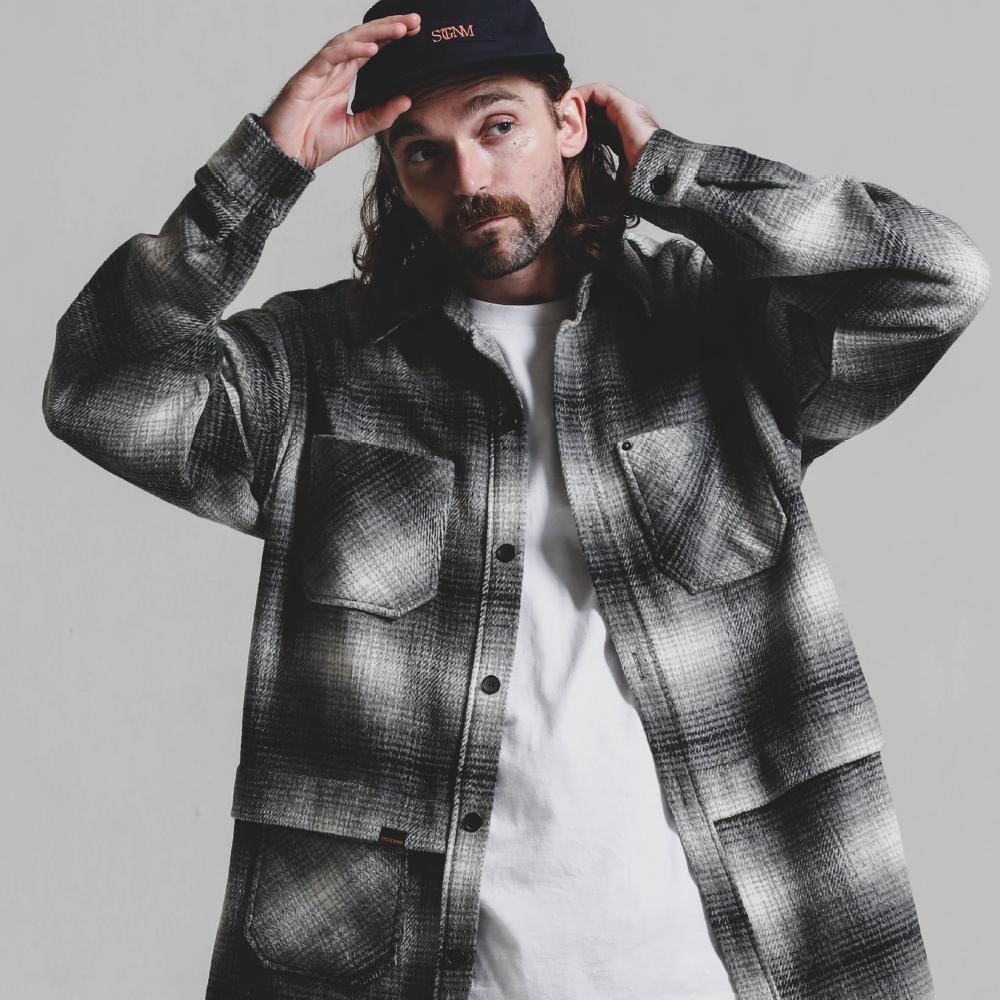 Big Check Fur Shirt JK_GREY