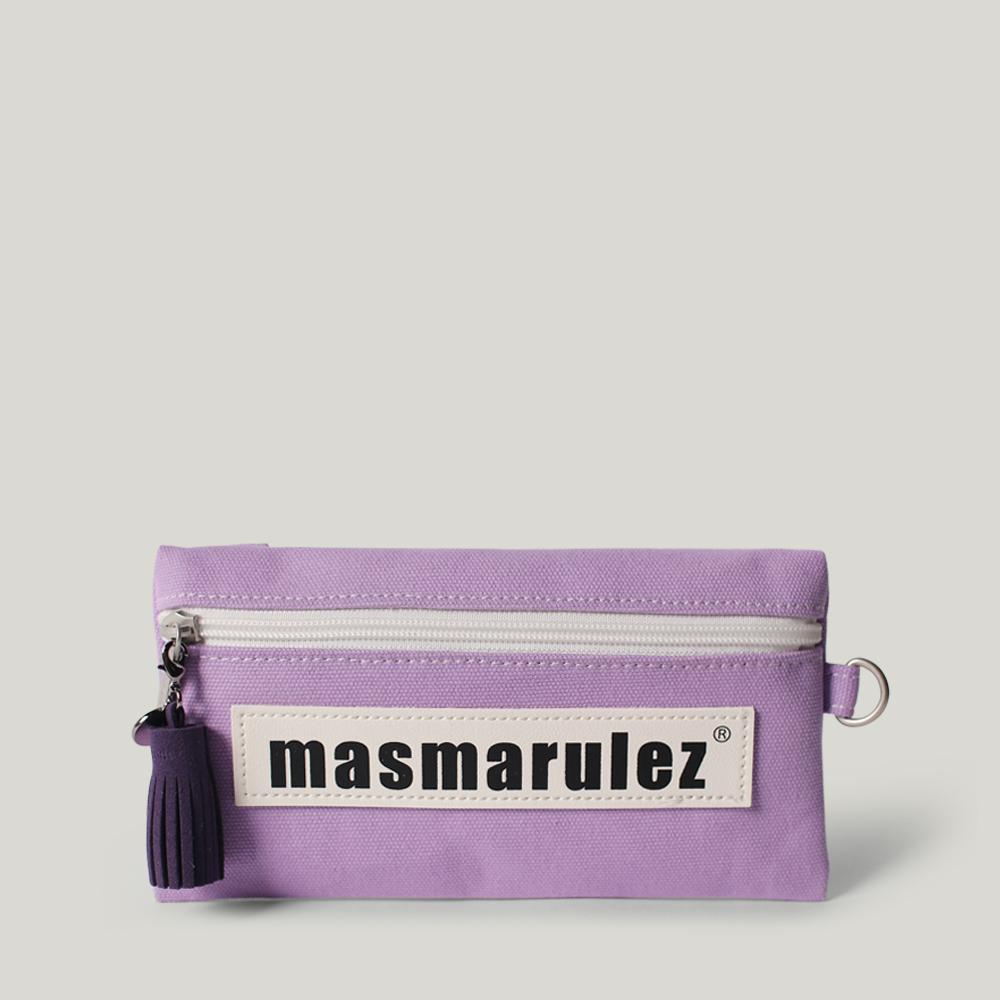 [마스마룰즈] 가죽 라벨포인트 펜슬케이스 필통 _ Purple