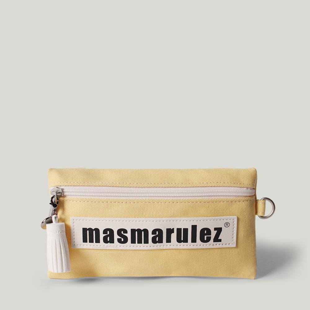[마스마룰즈] 가죽 라벨포인트 펜슬케이스 필통 _ Light yellow
