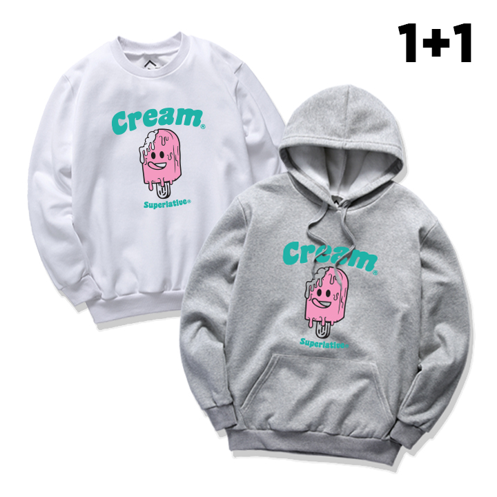 [단독구성][1+1]  ICE CREAM 맨투맨 후드 패키지