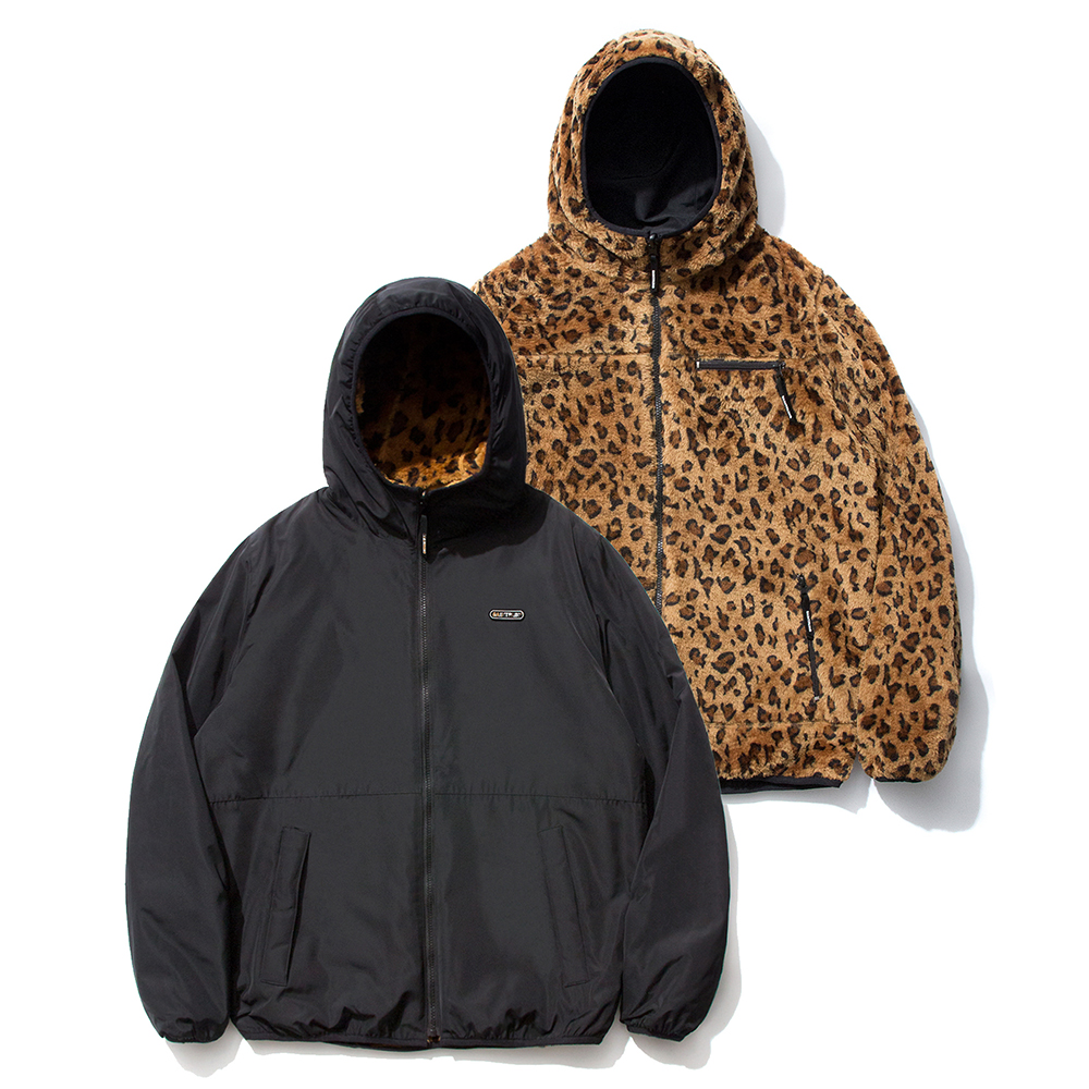 SP Reversible Boa Hood Jacket-Leopard