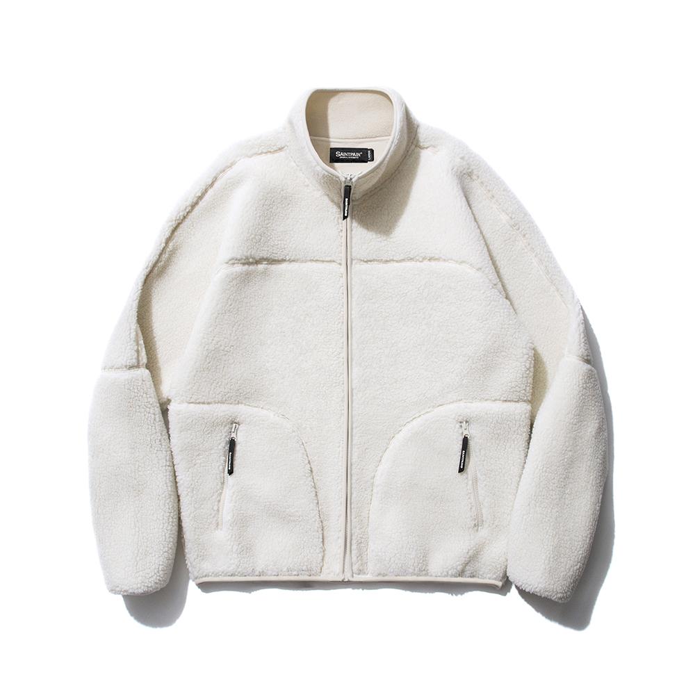 SP Boa Fleece Zip Up Jacket-White