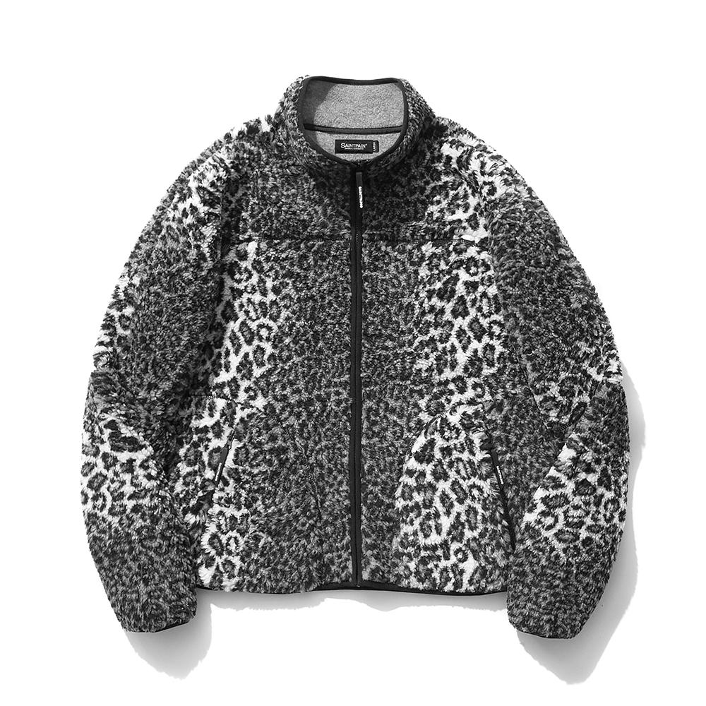 SP Leopard Boa Fleece Zip Up Jacket-Gray
