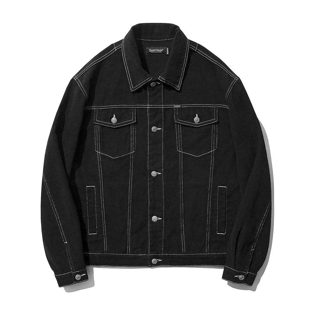 SP Cotton Twill Trucker Jacket-Black