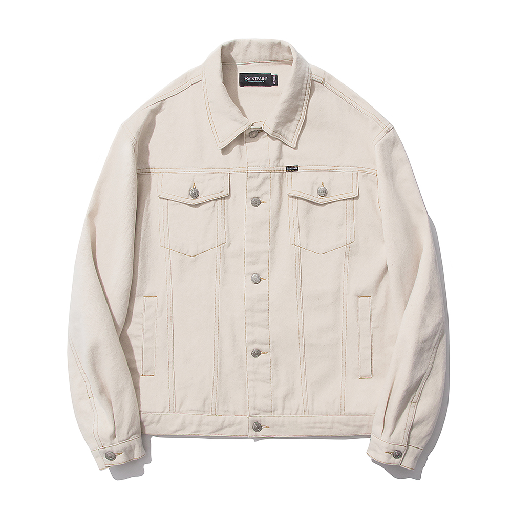 SP Cotton Twill Trucker Jacket-Ivory