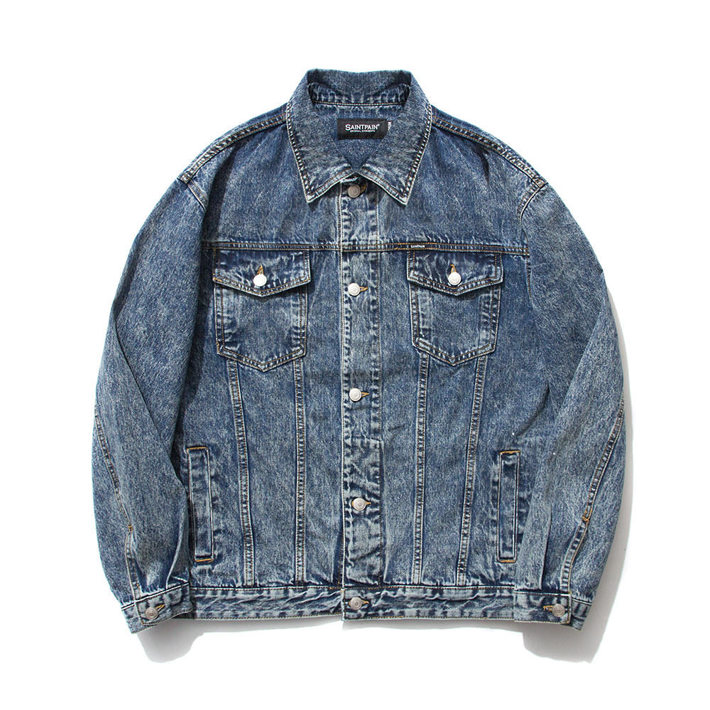 SP Denim Washed Trucker Jacket-Blue