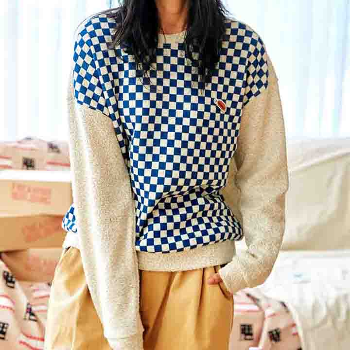 [FHBG] BOING CHECKERBOARD SWEATER (BLUE)