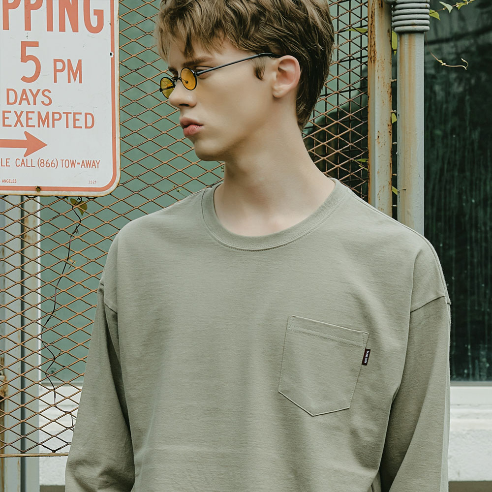Washed Pocket L/S T-Shirts(Khaki)