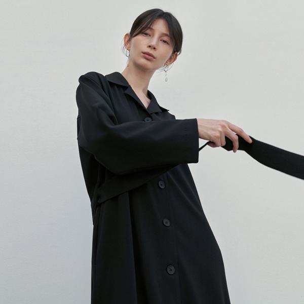 LUSH TRENCH COAT DRESS_BLACK