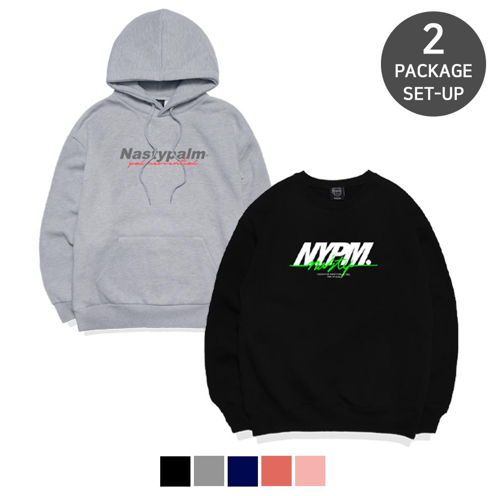 [단독][1+1] NYPM 시그니쳐 후드 + 레터링 로고 스웨트셔츠