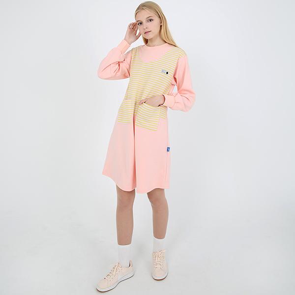 [TOi] 스트라이프 포켓 원피스 핑크