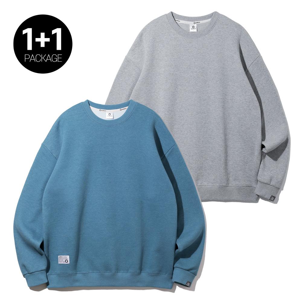 [1+1]앨빈클로 남녀공용 무지 오버핏 맨투맨 티셔츠 2종 패키지 MAR739 PLUS