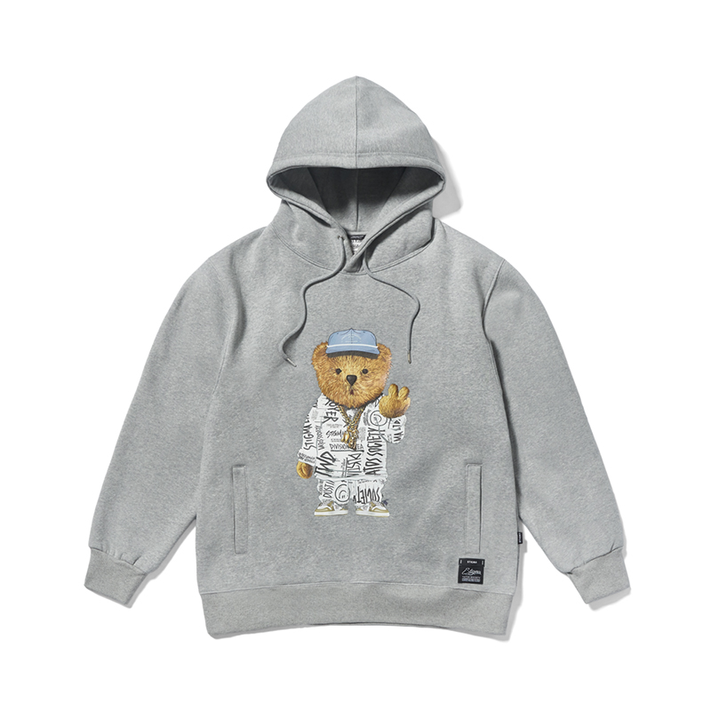 STIGMA 20 COMPTON BEAR HEAVY SWEAT HOODIE GREY
