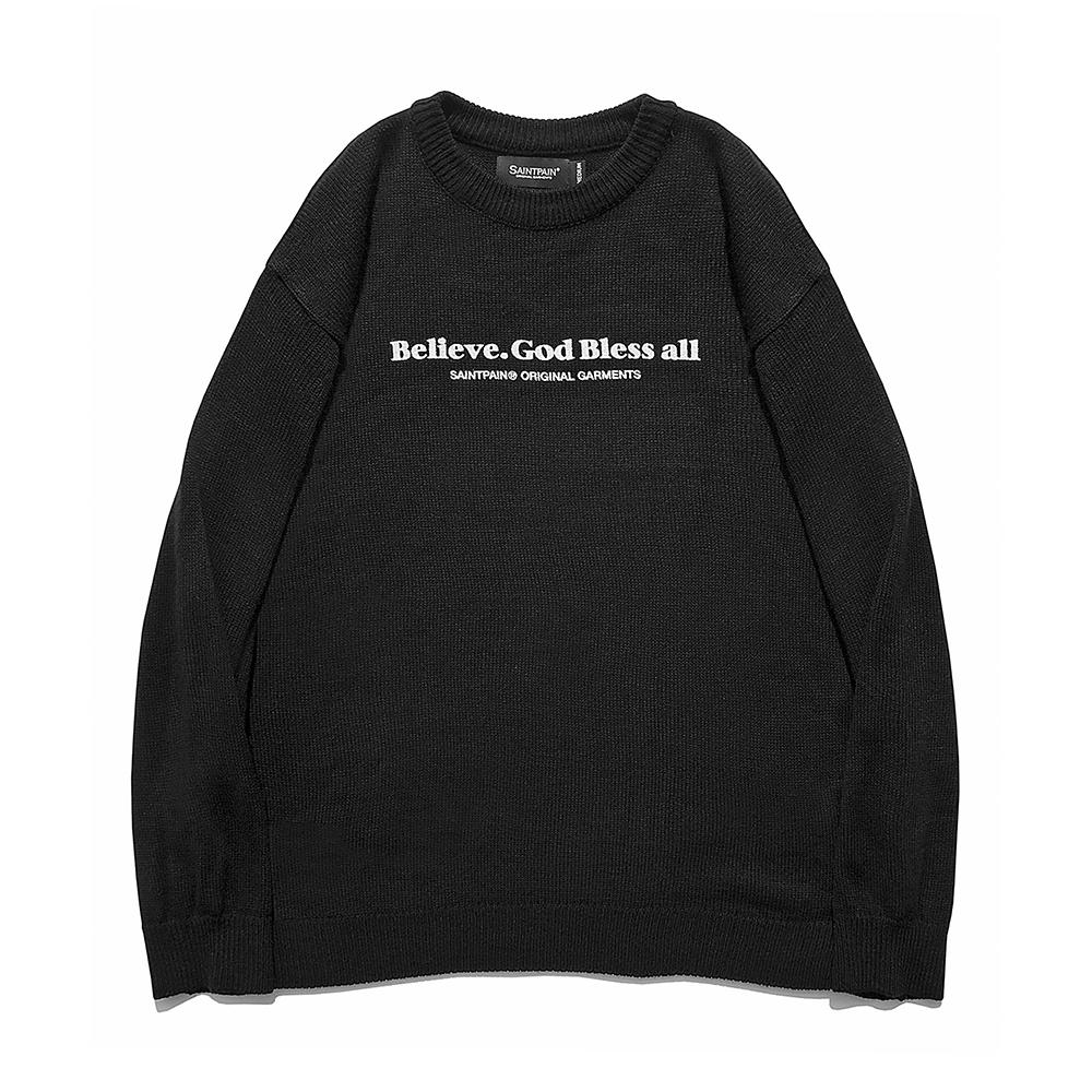 [패밀리세일][입점특가]SP Beileve Semi Over Knit-Black