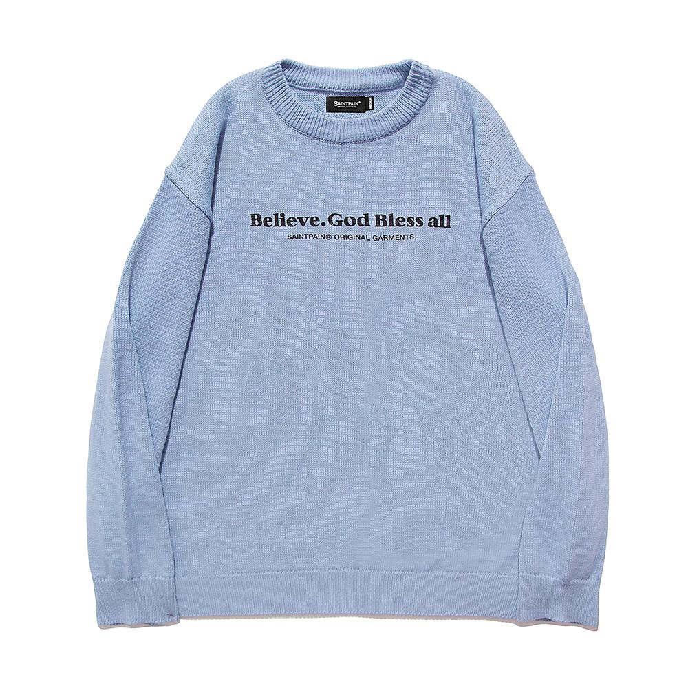 [패밀리세일][입점특가]SP Beileve Semi Over Knit-Light Blue