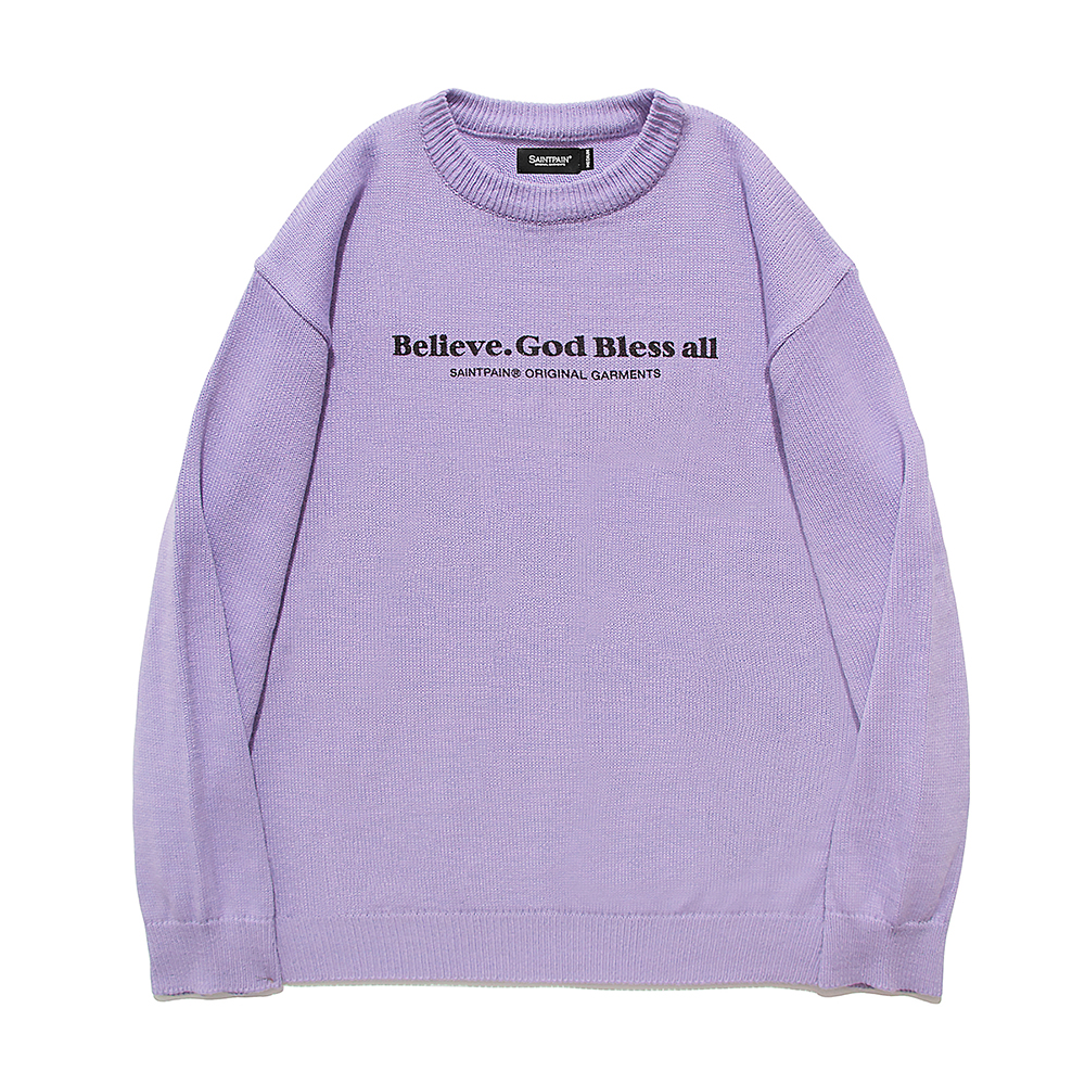[패밀리세일][입점특가]SP Beileve Semi Over Knit-Light Purple