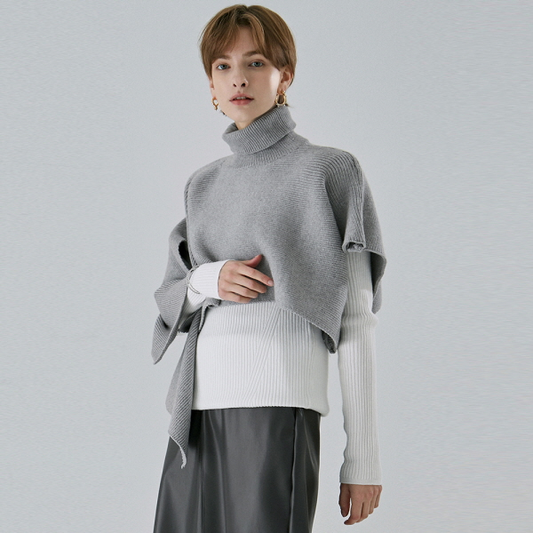 [DEANS] TURTLE UNBAL SHAWL KNIT_GRAY