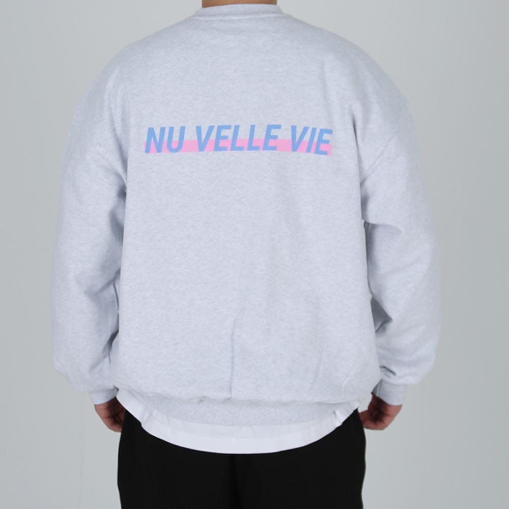 [입점특가]NUVV 화이트 맨투맨 블루핑크