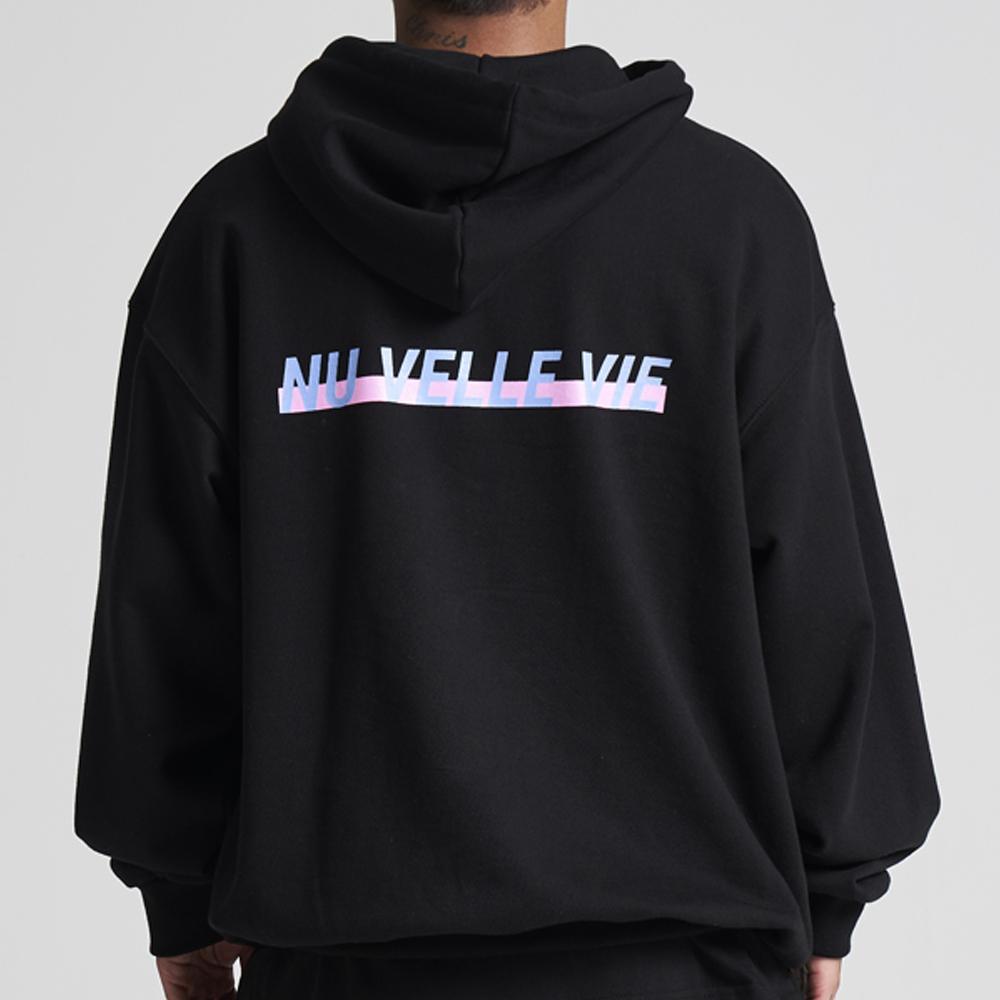 [입점특가]NUVV 블랙 후드티셔츠 블루핑크