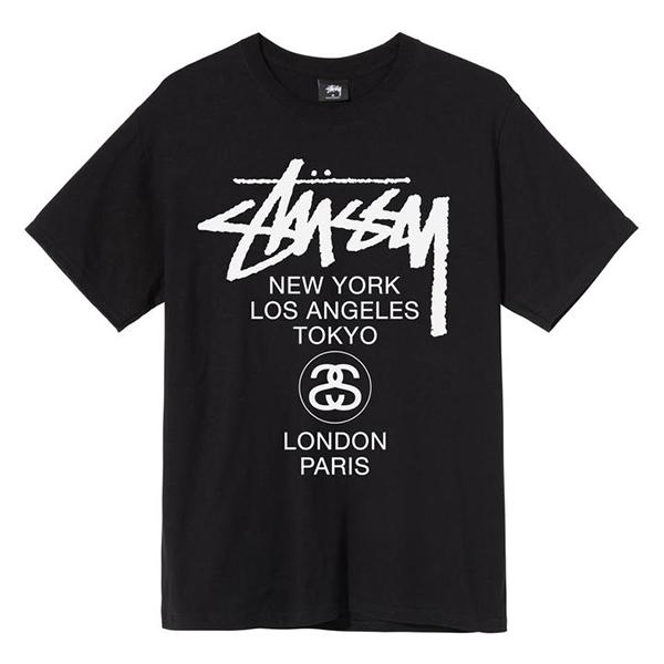 [해외]스투시 WORLD TOUR 티셔츠 블랙