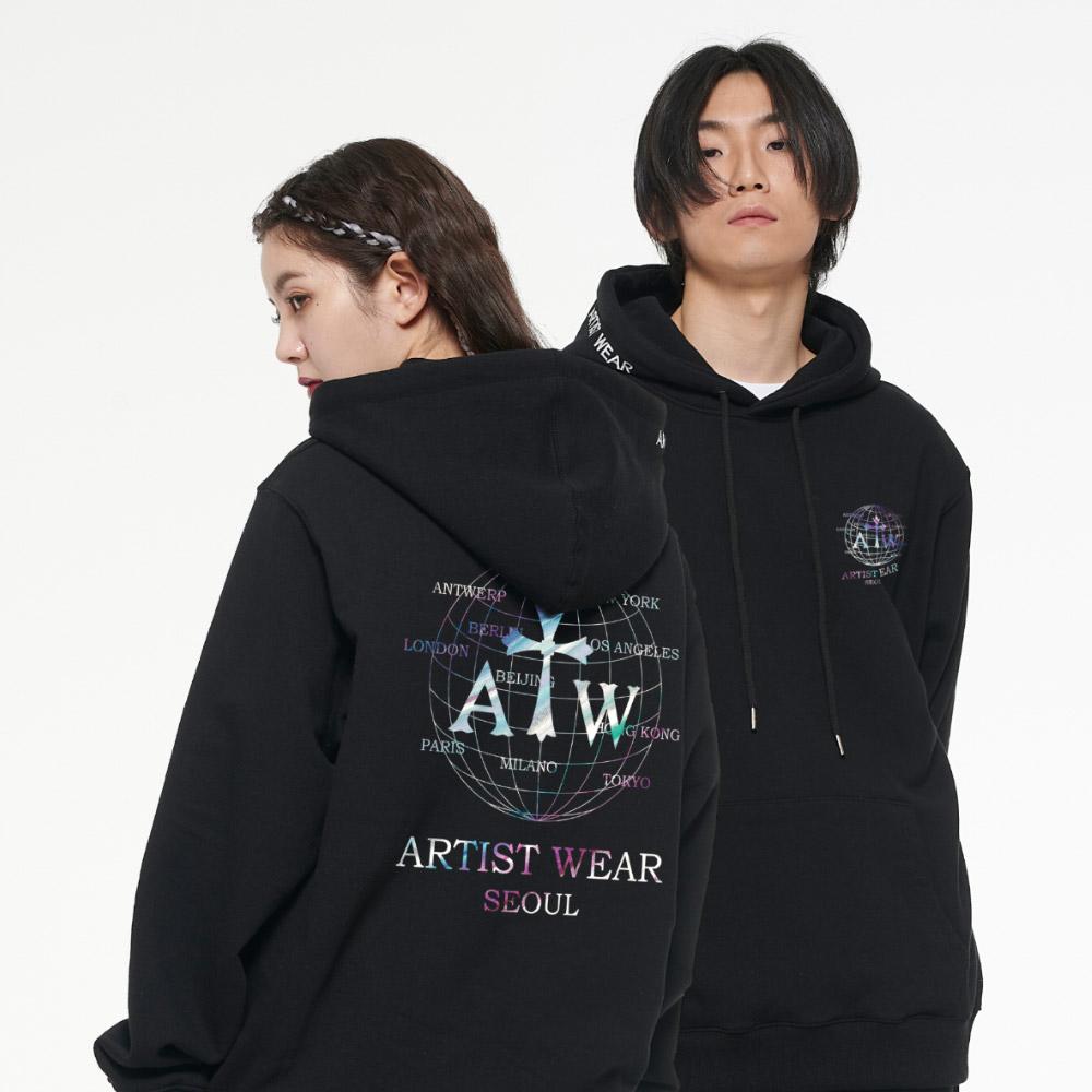 [단독할인][ATW] 월드스프리드 로고 후드티_BK