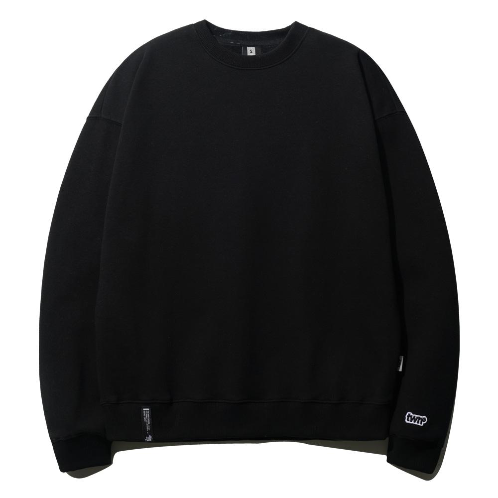 [티떠블유엔] 블랭크 오버핏 맨투맨 블랙 STMT3330