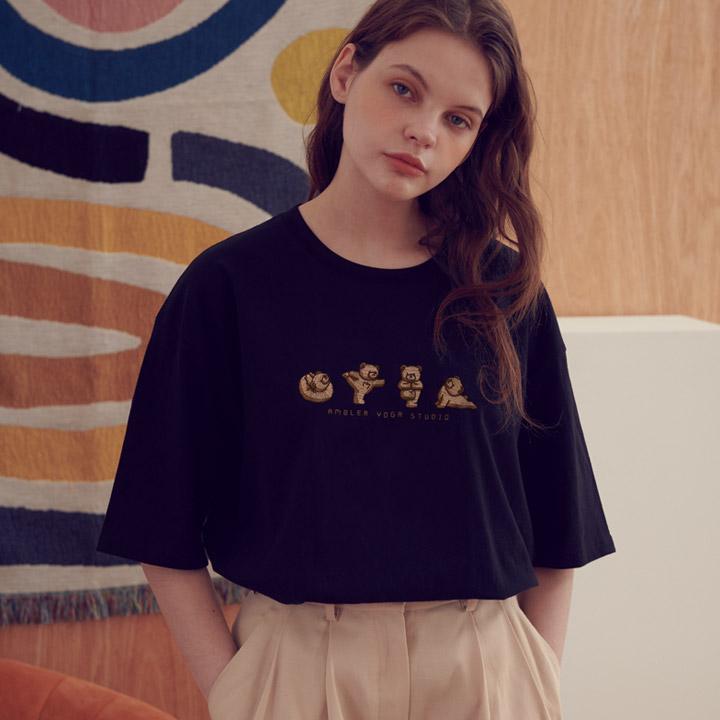 [엠블러]AMBLER 21SS 신상 자수 반팔 티셔츠 AS803-블랙