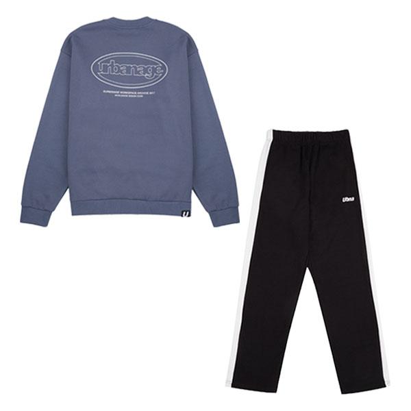 [1+1] 리니어 서클 로고 스웨트셔츠+UBNA 스트레이트 라인 트랙팬츠