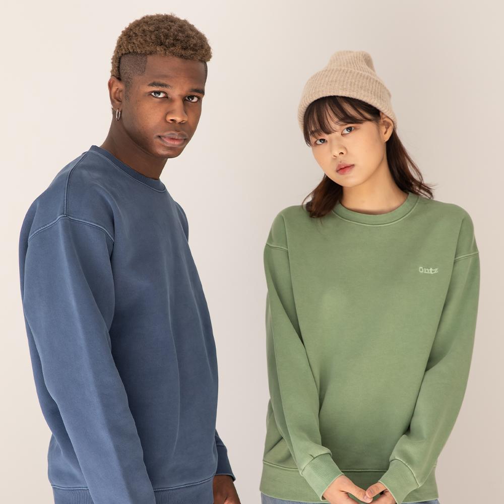 [그랜드오픈]피그먼트 워싱 로고 스웨트셔츠 (3color)