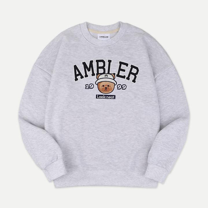 [엠블러]AMBLER 21SS 신상 자수 오버핏 쭈리 맨투맨 티셔츠 AMM904-오트밀