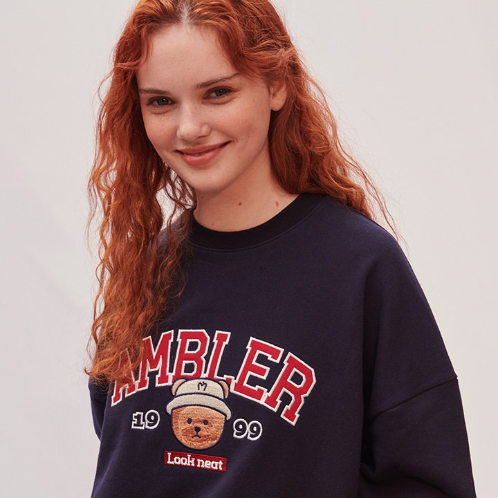 [엠블러]AMBLER 21SS 신상 자수 오버핏 쭈리 맨투맨 티셔츠 AMM904-네이비