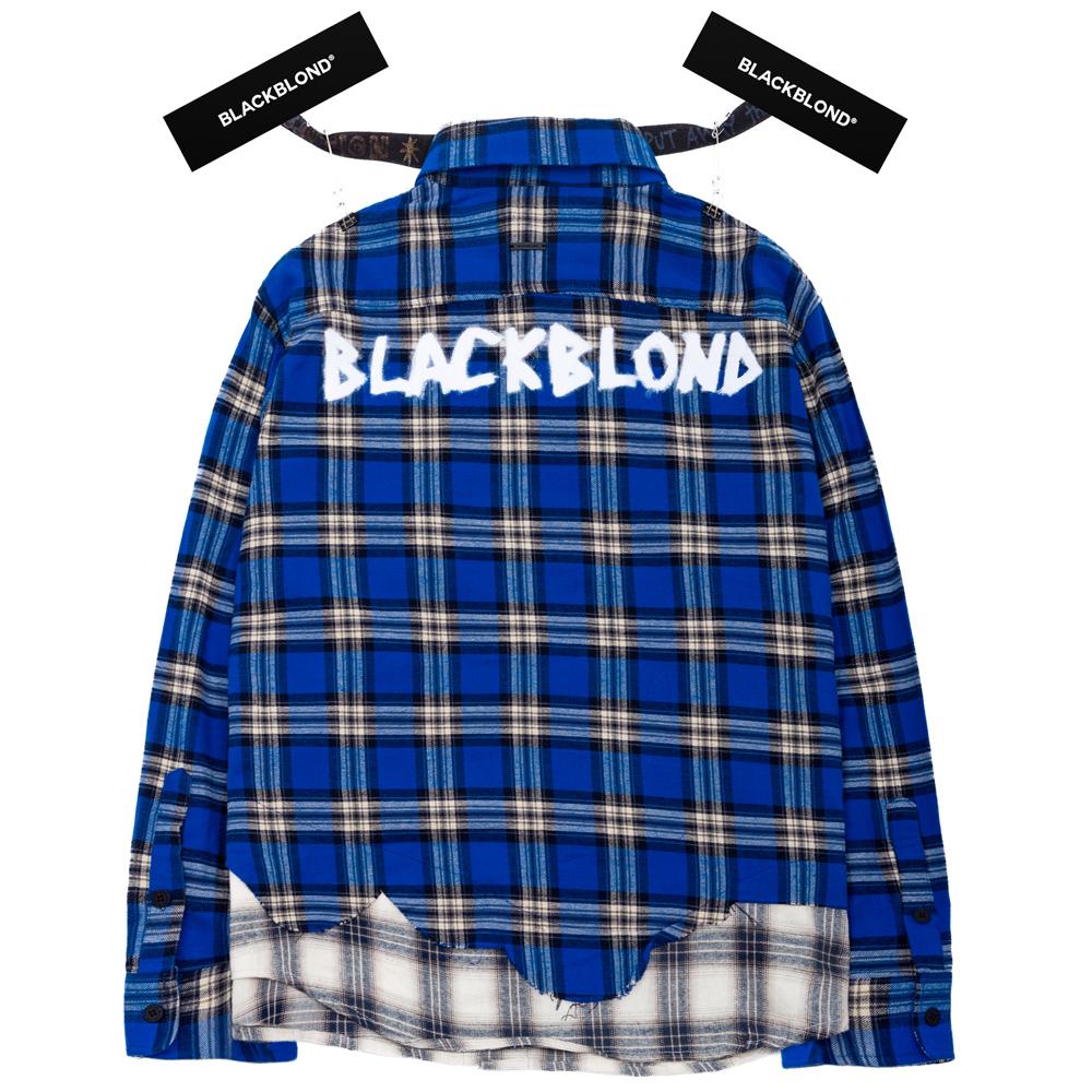 BBD Graffiti Logo Layered Check Shirt (Blue)
