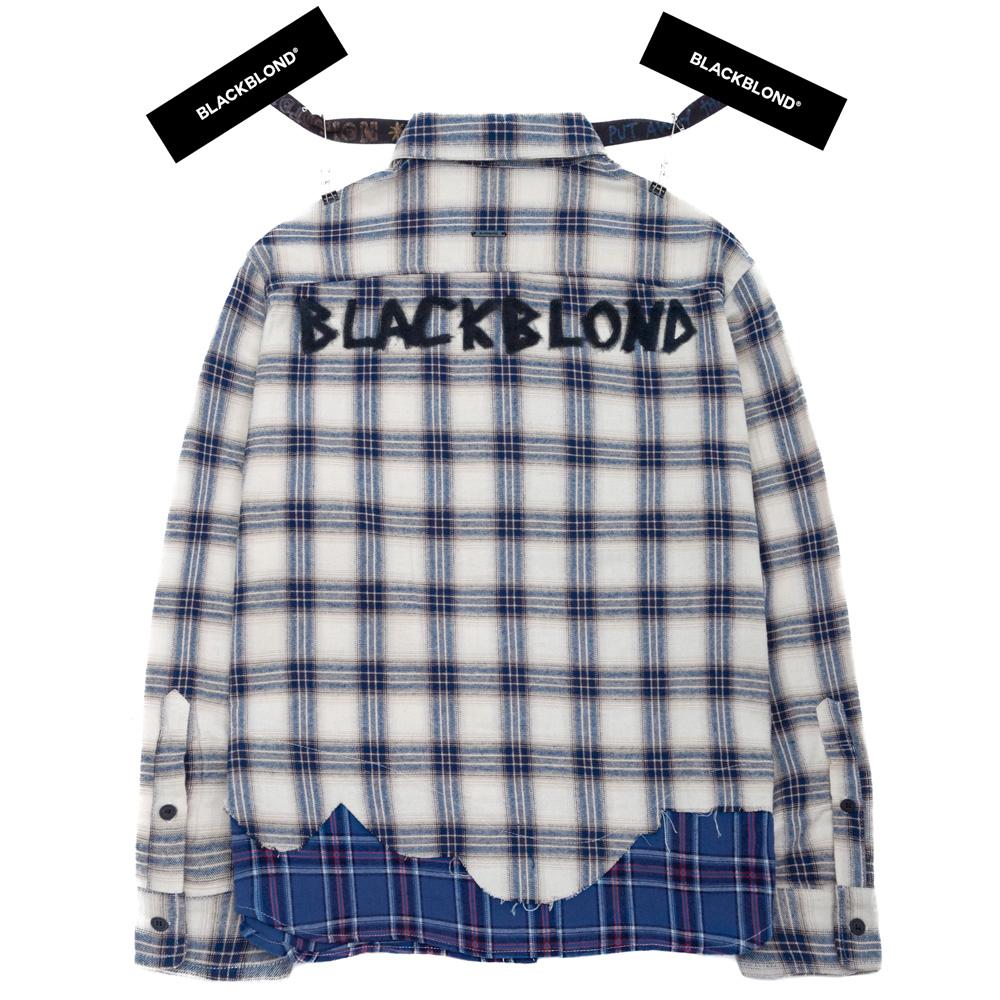 BBD Graffiti Logo Layered Check Shirt (Ivory)