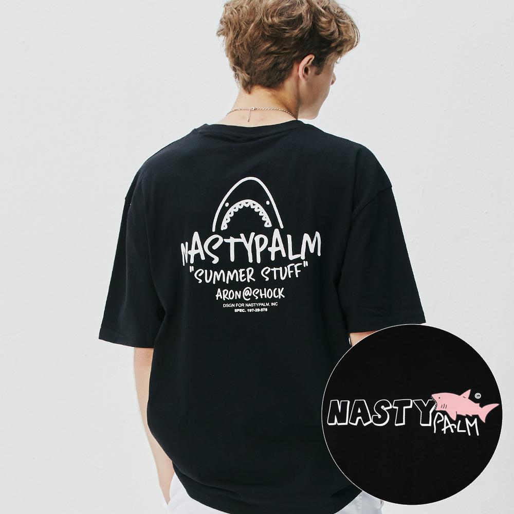 [시즌오프]아론 쇼크 로고 티셔츠 블랙
