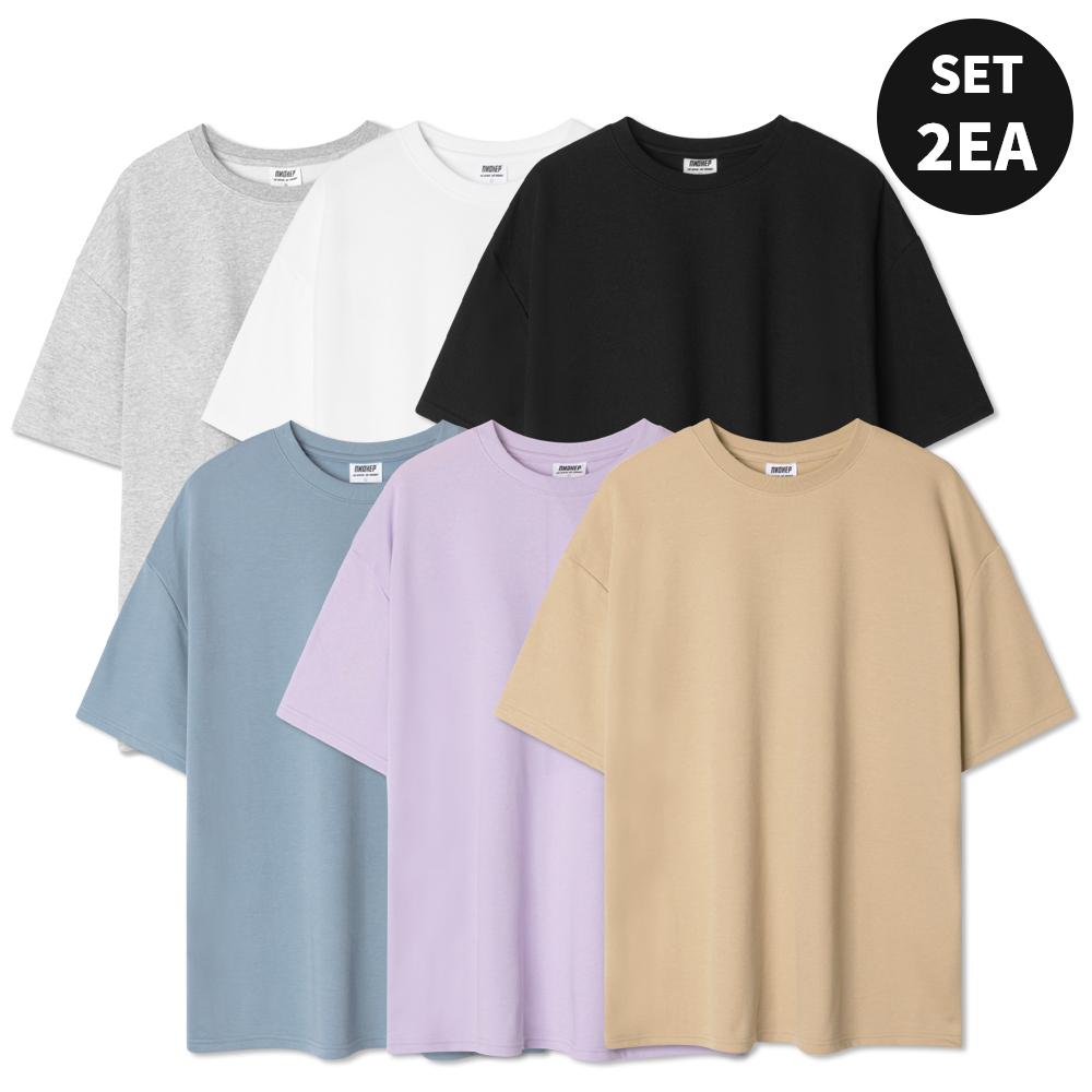 [2장 세트] 소프트 오버핏 반팔 티셔츠 (6color)
