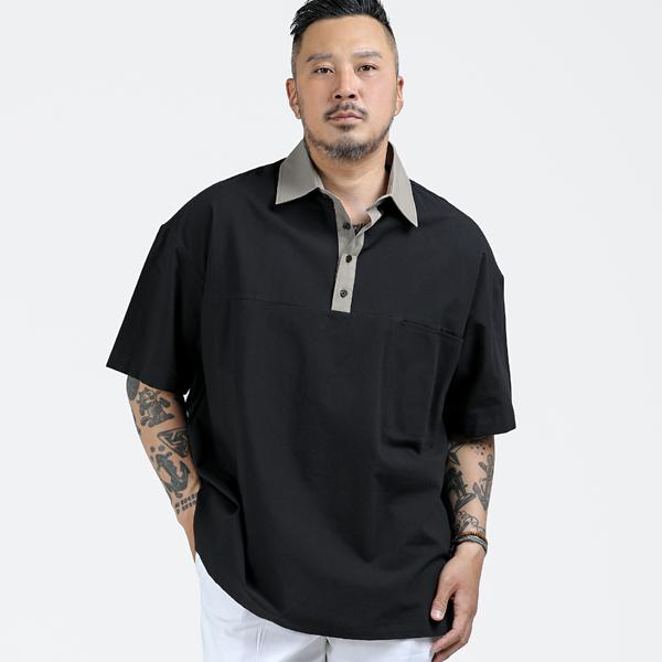 러기드하우스 : 브레스 배색 포켓 카라티 블랙