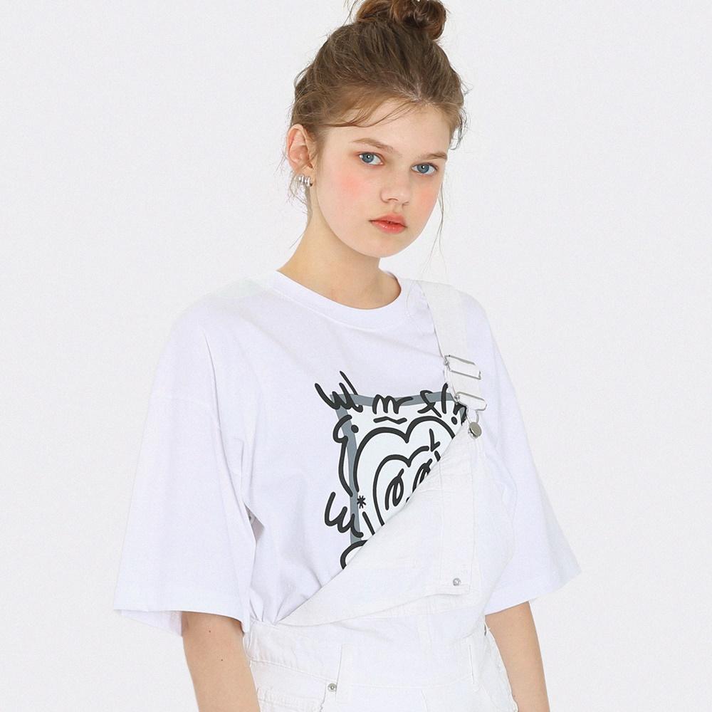 하트 칠드 모노 오버핏 반팔 티셔츠-화이트