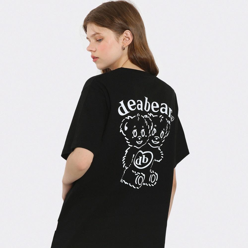 디어베어 트윈 반팔 티셔츠-블랙