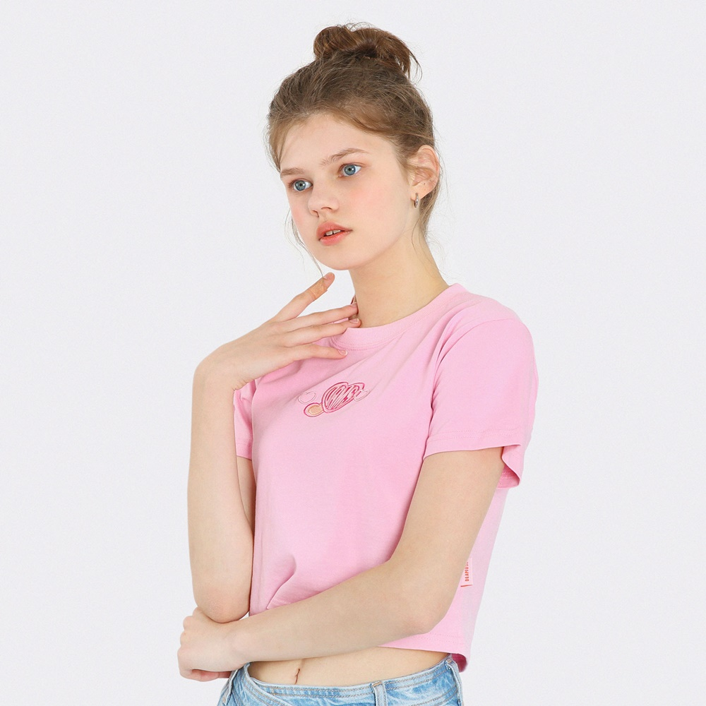 [단독한정]하트 자수 크롭 티셔츠-핑크