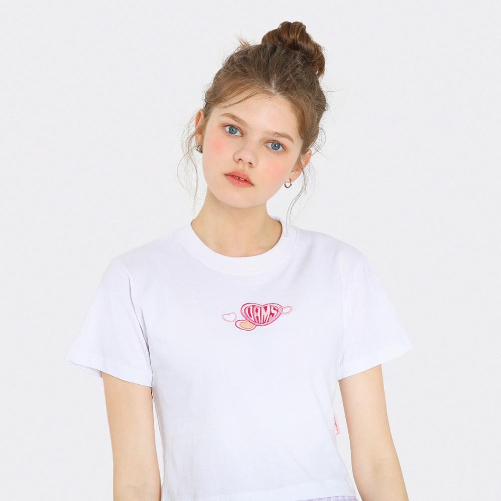 [단독한정]하트 자수 크롭 티셔츠-화이트