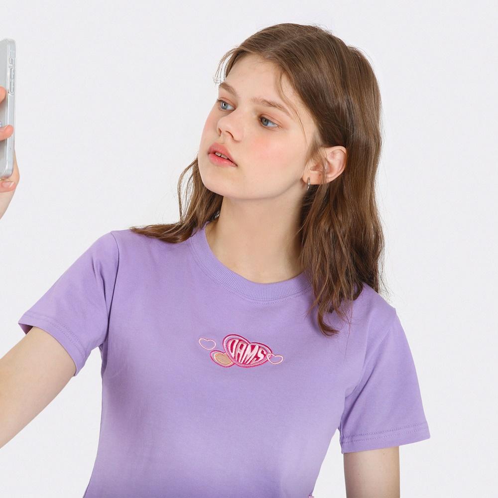 [단독한정]하트 자수 크롭 티셔츠-퍼플