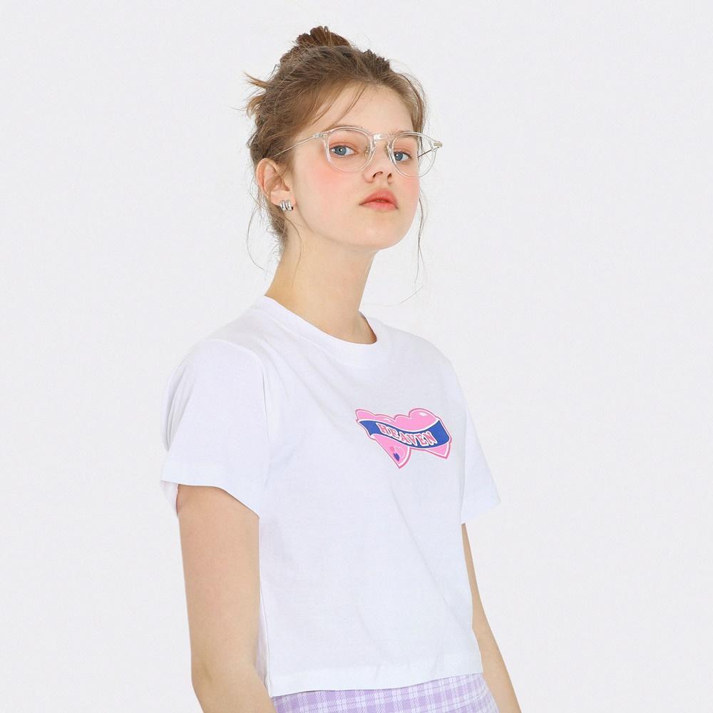 [단독한정]하트 헤븐 크롭 티셔츠-화이트
